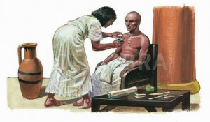 ANCIENT EGYPTIAN DOCTOR AND PATIENT- ILLUSTRATION