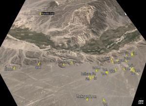 Panorama of Nazca plain images and Mandala Grid